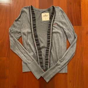 Hollister Open Front Gray Cardigan with Ruffle M